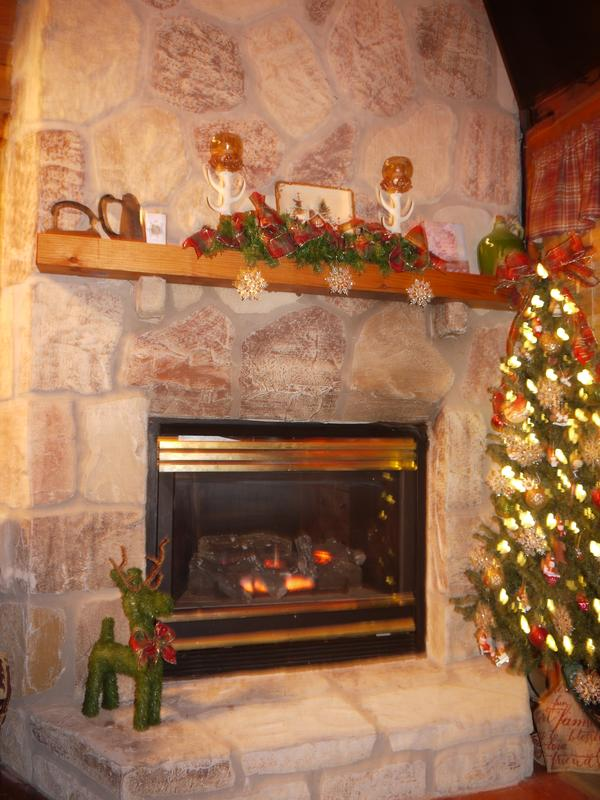The fireplace provides warmth and ambiance.