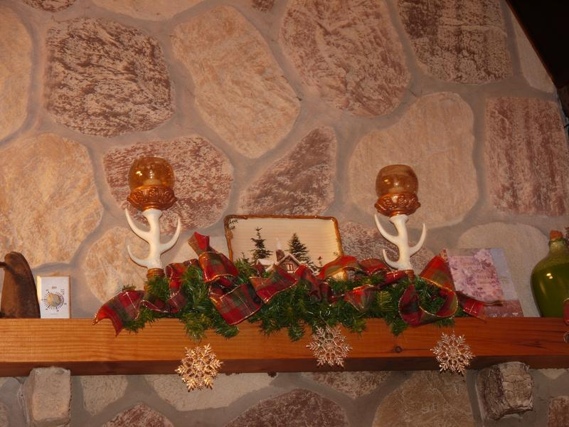 The mantel decorated for the holidays!