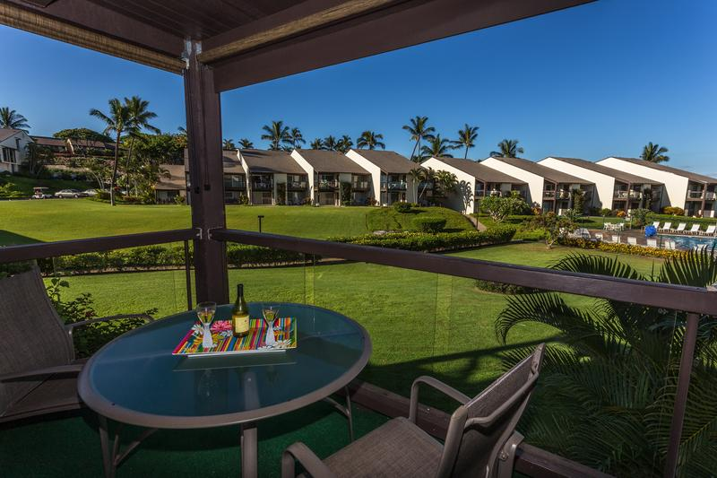 Lanai has views of ocean and Haleakala - perfect for morning coffee or an evening Mai Tai!