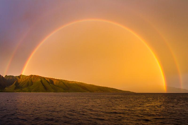 A spectacular double rainbow! Maybe you'll see one on your next visit! :)