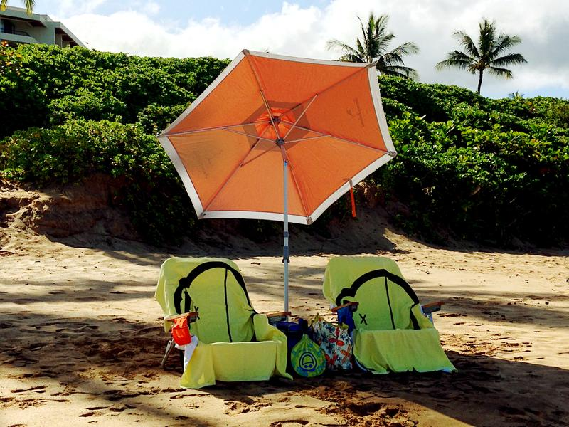Relax with beach chairs, umbrella and more!