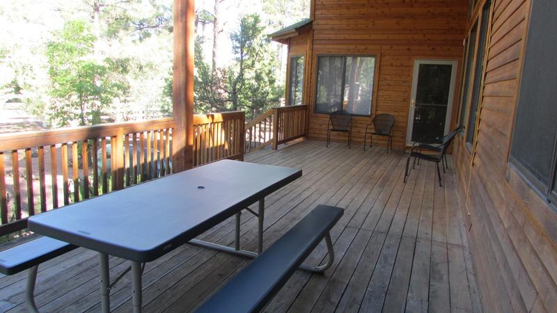 Patio furniture includes chairs and picnic table.