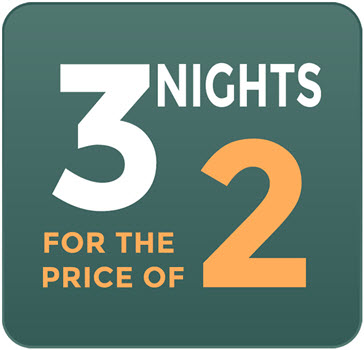 October Mid Week Promotion- 3 nights for the price of 2