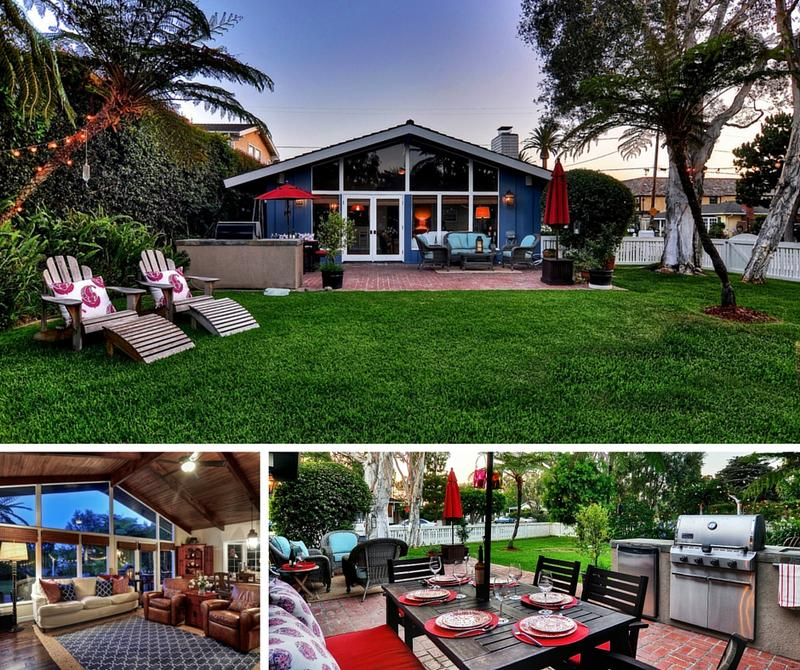 Furnished monthly rental in Newport Beach near bay and Fashion Island backyard living room and back patio dining and grill
