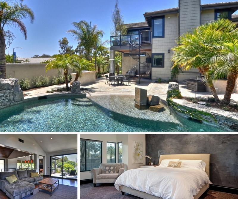 Village Road furnished monthly rental with pool hot tub game room in Dana Point Back Patio living area and master suite