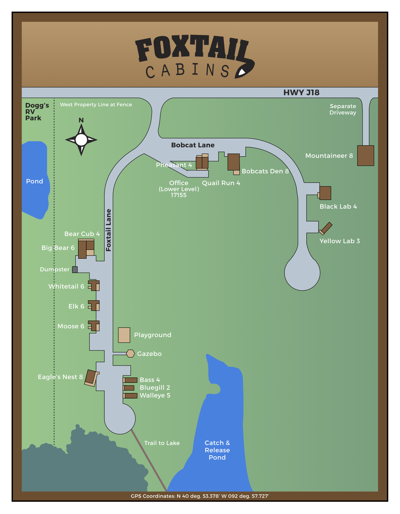 Map of Foxtail Cabins Rathbun Lake