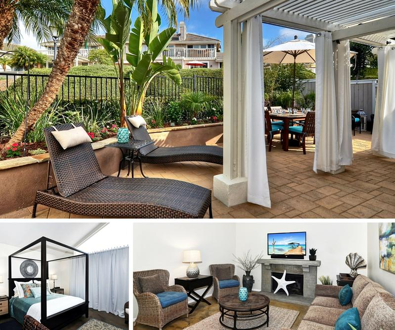 Beachville family friendly vacation rental in Laguna Niguel back patio master bedroom and living room
