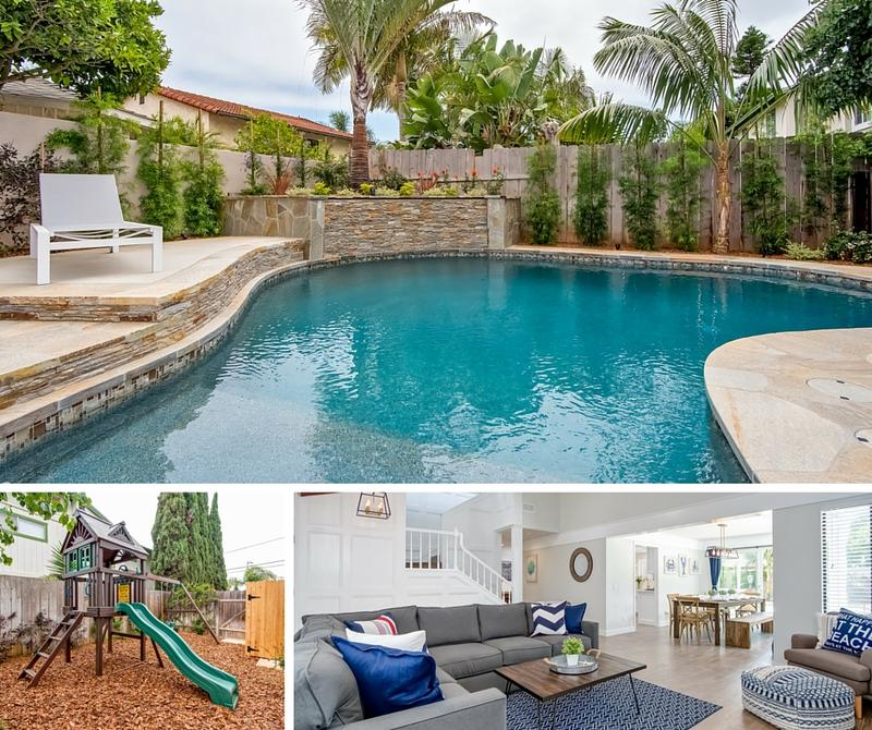 Tamarack family friendly vacation rental with pool and hot tub in Carlsbad California Pool play set and living room