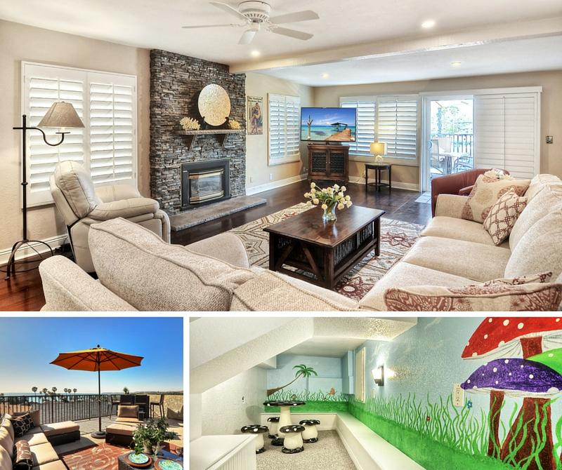 Family friendly vacation rental in San Clemente North Beach D living room rooftop patio and kids play room