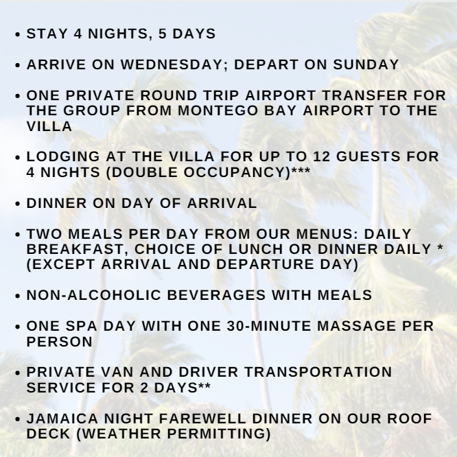 Jamaica Bachelorette Weekend Inclusions